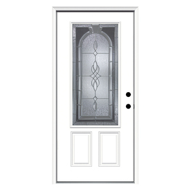 ReliaBilt Hampton 2-Panel Insulating Core 3/4 Lite Left-Hand Inswing Primed Steel Prehung Entry Door (Common: 36-in x 80-in; Actual: 37.5-in x 81.75-in)
