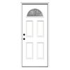 ReliaBilt Laurel 4-Panel Insulating Core Fan Lite Right-Hand Inswing Primed Steel Prehung Entry Door (Common: 32-in x 80-in; Actual: 33.5-in x 81.75-in)