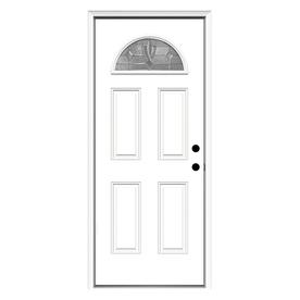 ReliaBilt Laurel 4-Panel Insulating Core Fan Lite Left-Hand Inswing Primed Steel Prehung Entry Door (Common: 32-in x 80-in; Actual: 33.5-in x 81.75-in)