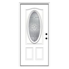 ReliaBilt Laurel 2-Panel Insulating Core Oval Lite Left-Hand Inswing Primed Steel Prehung Entry Door (Common: 36-in x 80-in; Actual: 37.5-in x 81.75-in)