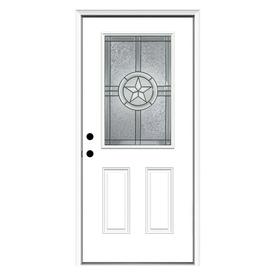 ReliaBilt Radiant Star 2-Panel Insulating Core Half Lite Right-Hand Inswing Primed Steel Prehung Entry Door (Common: 36-in x 80-in; Actual: 37.5-in x 81.75-in)