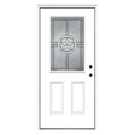 ReliaBilt Radiant Star 2-Panel Insulating Core Half Lite Left-Hand Inswing Primed Steel Prehung Entry Door (Common: 36-in x 80-in; Actual: 37.5-in x 81.75-in)