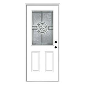 ReliaBilt Radiant Star 2-Panel Insulating Core Half Lite Left-Hand Inswing Primed Steel Prehung Entry Door (Common: 32-in x 80-in; Actual: 33.5-in x 81.75-in)