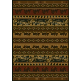 United Weavers Of America Marshfield Brown Rectangular Indoor Woven Lodge Area Rug (Common: 8 x 10; Actual: 94-in W x 126-in L)
