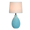 Simple Designs 14.17-in Blue Indoor Table Lamp with Fabric Shade