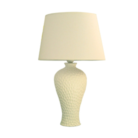 Simple Designs 20.08-in White Indoor Table Lamp with Fabric Shade