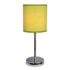 Simple Designs 11.81-in Chrome Indoor Table Lamp with Fabric Shade
