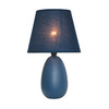 Simple Designs 9.45-in Blue Indoor Table Lamp with Fabric Shade