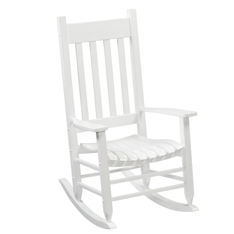 Shop Garden Treasures One Porch White Wood Slat Seat Outdoor Rocking Chair At