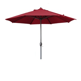 Lauren & Company Round Cranberry Red Patio Umbrella with Tilt-and-Crank (Common: 9-ft x 9-ft; Actual: 9-ft x 9-ft)