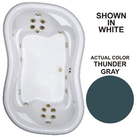 Watertech Whirlpool Baths 78-in L x 52-in W x 25-3/8-in H Designer 2-Person Thunder Gray Hourglass-in-Rectangle Drop-In Whirlpool Tub 7852 THUNDER GRAY