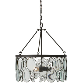 Shop allen roth grelyn w aged bronze pendant light with clear glass shade at for Allen roth bathroom light fixtures bronze