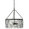 allen + roth Grelyn 17.99-in W Aged Bronze Pendant Light with Clear Glass Shade