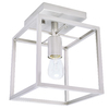 allen + roth Arctura 7.01-in W Brushed Nickel Metal Semi-Flush Mount Light