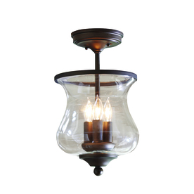 allen + roth 8.68-in W Bronze Clear Glass Semi-Flush Mount Light