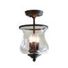 allen + roth Yateley 8.68-in W Aged Bronze Clear Glass Semi-Flush Mount Light