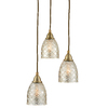 allen + roth Lynlore 12.52-in Old Brass Vintage Multi-Light Tinted Glass Dome Pendant