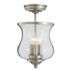 allen + roth Yately 8.66-in W Brushed Nickel Clear Glass Semi-Flush Mount Light