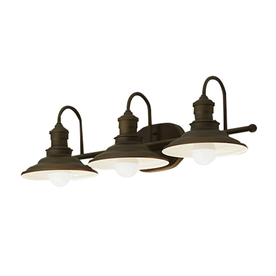 Zen Bathroom Lighting Fixtures lowes - allen + roth 3-light hainsbrook bronze bathroom vanity