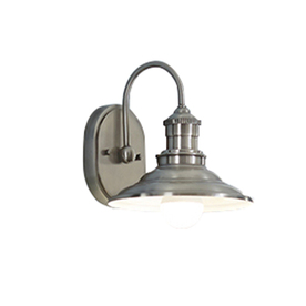 allen + roth Hainsbrook 8-in W 1-Light Antique Pewter Arm Hardwired Wall Sconce