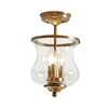 allen + roth Yateley 8.68-in W Satin Brass Clear Glass Semi-Flush Mount Light