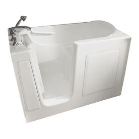 American Standard 60-in L x 30-in W x 38-in H White Gelcoat and Fiberglass Rectangular Walk-In Bathtub with Left-Hand Drain