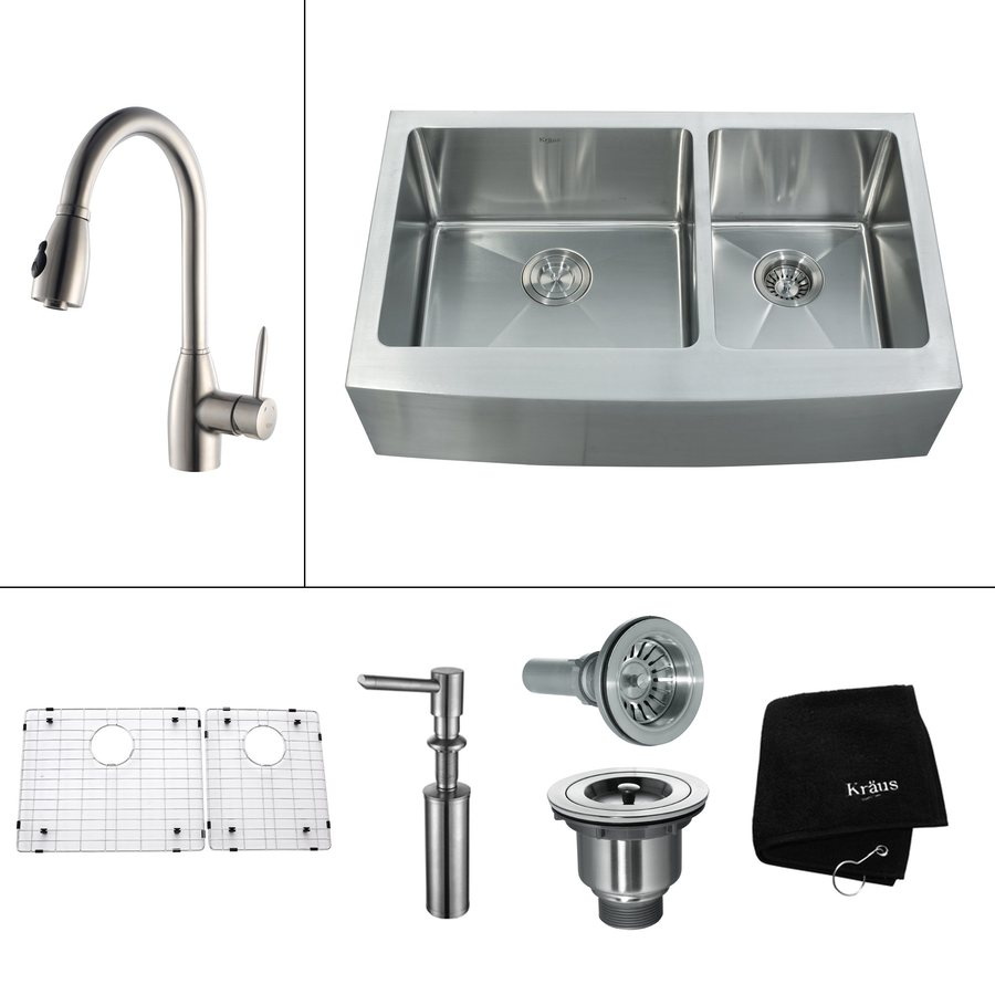 ... Stainless Double-Basin Apron Front/Farmhouse Kitchen Sink at Lowes.com