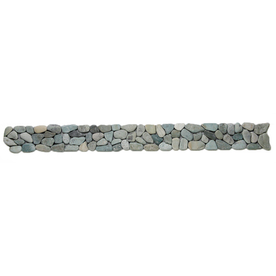 Solistone 9-Pack River Rock Pebbles Turquoise Natural Stone Mosaic Random Indoor/Outdoor Floor Tile (Common: 4-in x 39-in; Actual: 4-in x 39-in)