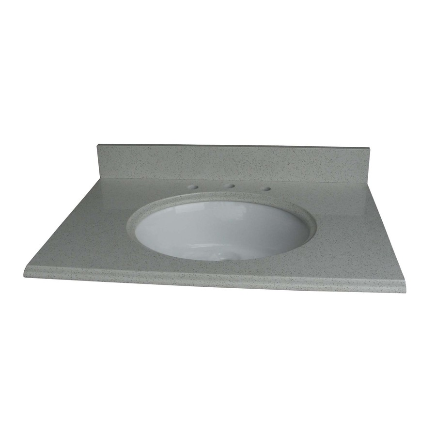 Shop allen roth cinquefoil white quartz undermount for Bathroom quartz vanity tops
