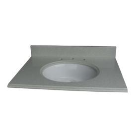 allen + roth Cinquefoil White Quartz Undermount Single Sink Bathroom Vanity Top (Common: 37-in x 22-in; Actual: 37-in x 22-in)