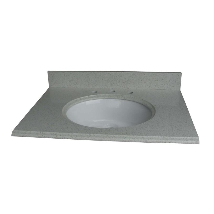 Cinquefoil White Quartz Undermount Single Sink Bathroom Vanity Top