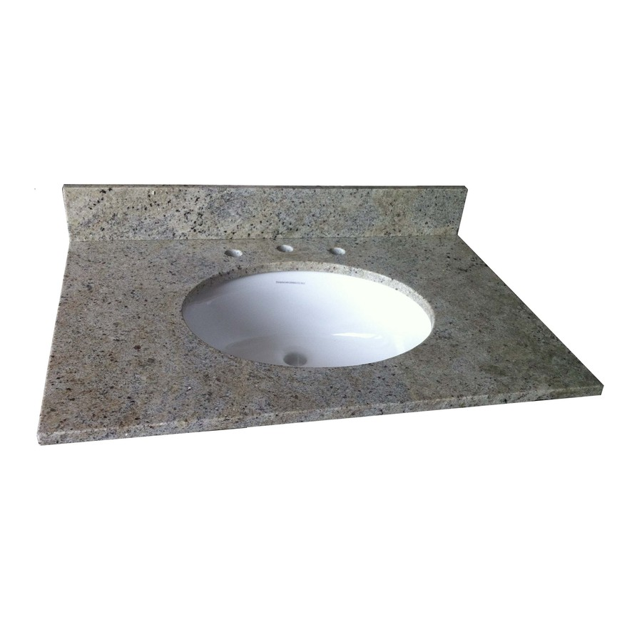Shop Allen Roth Kashmir White Granite Undermount Single Sink Bathroom Vanity Top Common 37
