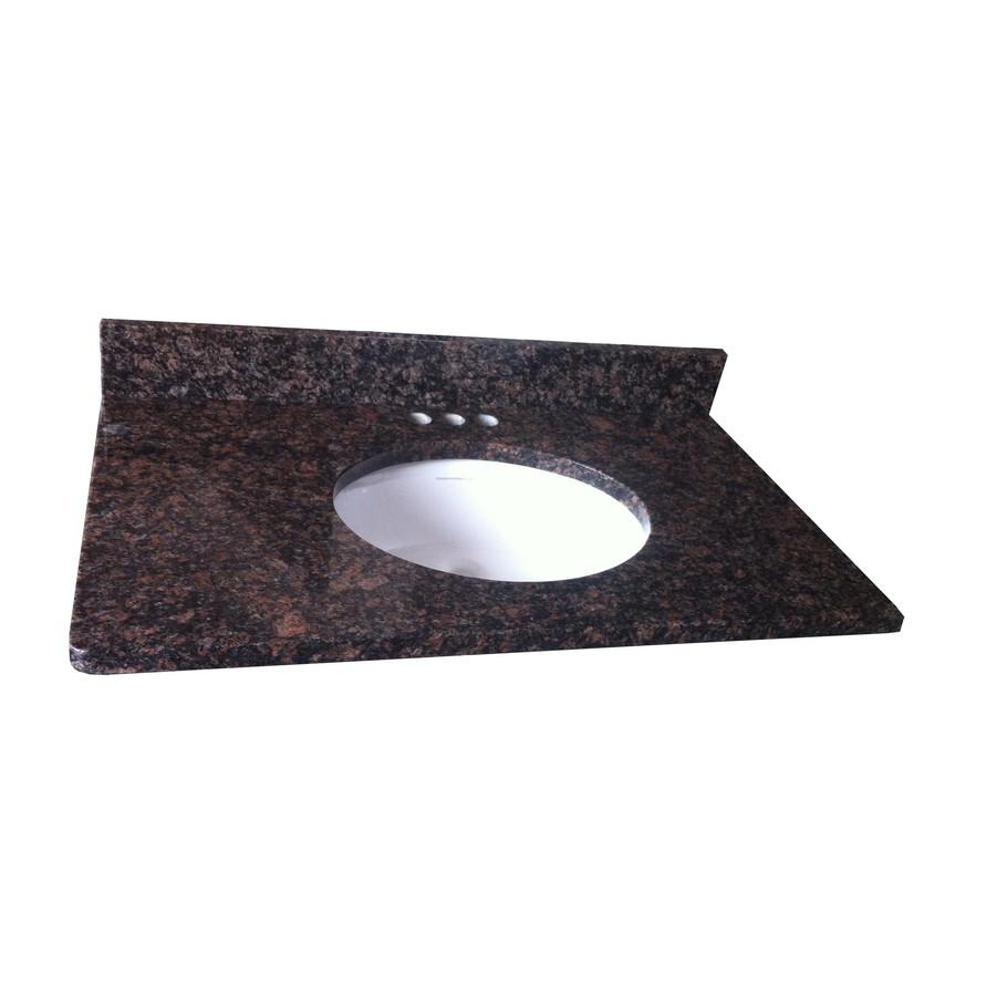 Granite Bathroom Countertops Lowes : Shop allen + roth Tan Brown Granite Undermount Single Sink Bathroom ...
