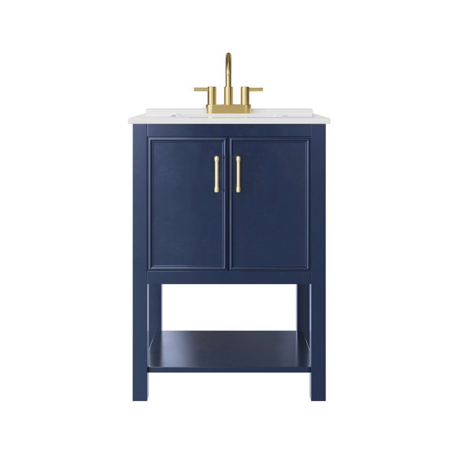 Allen Roth Presnell 24 In Navy Blue Single Sink Bathroom Vanity With White Porcelain Top In The Bathroom Vanities With Tops Department At Lowes Com