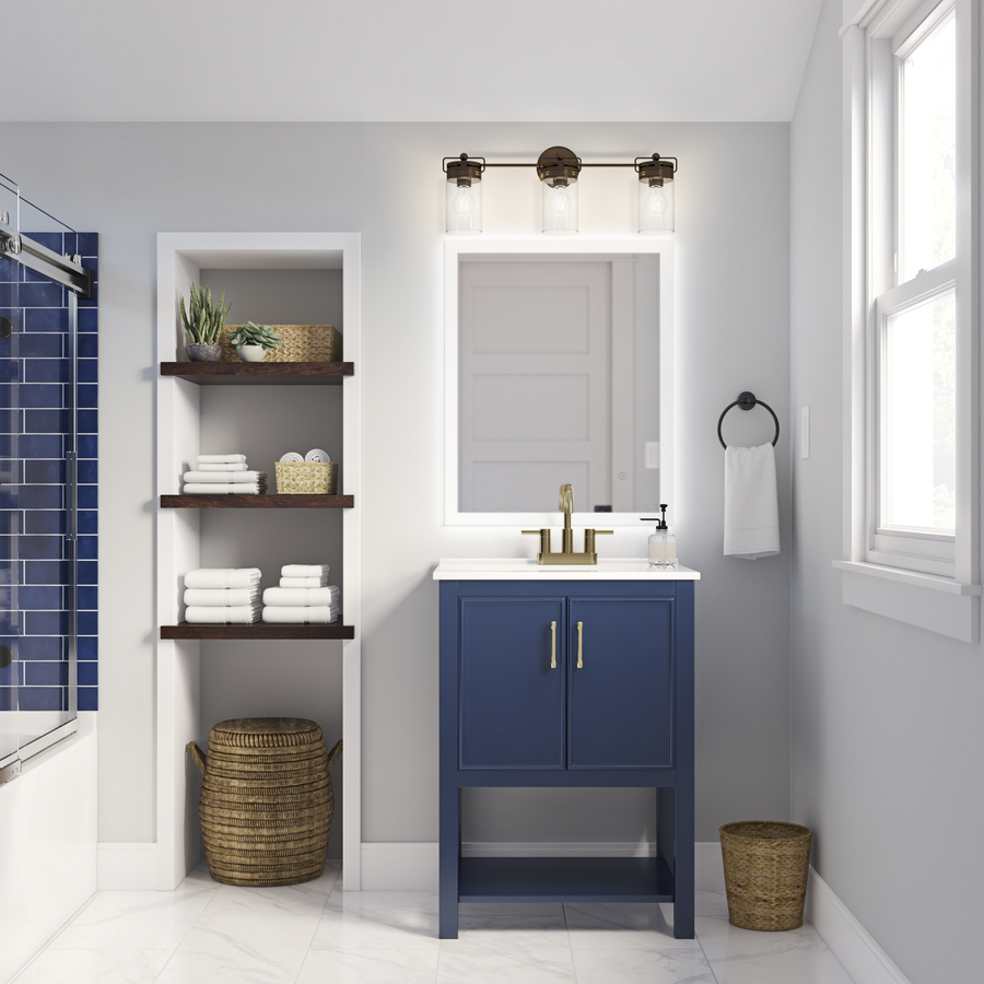 Allen + Roth Presnell 24-in Navy Blue Single Sink Bathroom Vanity With White Porcelain Top In The Bathroom Vanities With Tops Department At Lowes.com