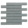 Bestview Grey/Linen Polished Subway Mosaic Glass Wall Tile (Common: 12-in x 13-in; Actual: 12.52-in x 11.73-in)