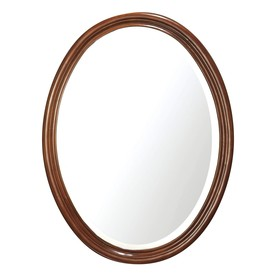 Avanity 33-1/2-in H x 25-in W Oxford Dark Oak Oval Bathroom Mirror