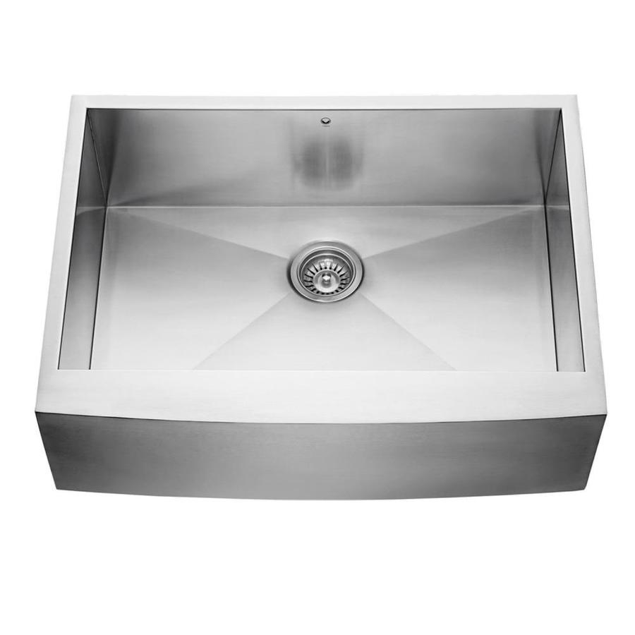 Shop vigo 30 in x stainless steel single basin apron front farmhouse kitchen sink at - Kitchen sinks apron front ...