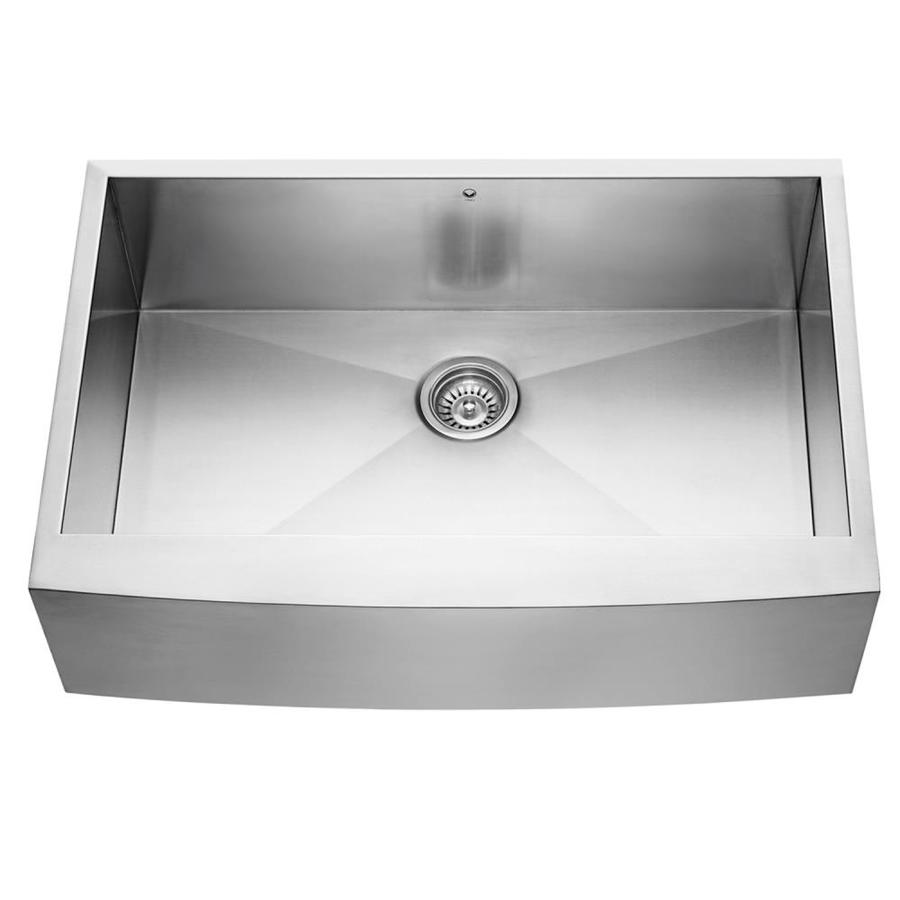 Shop vigo 33 in x stainless steel single basin Stainless steel farmhouse sink