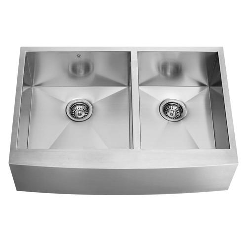 Zoomed: VIGO Double-Basin Stainless Steel Apron Front Kitchen Sink