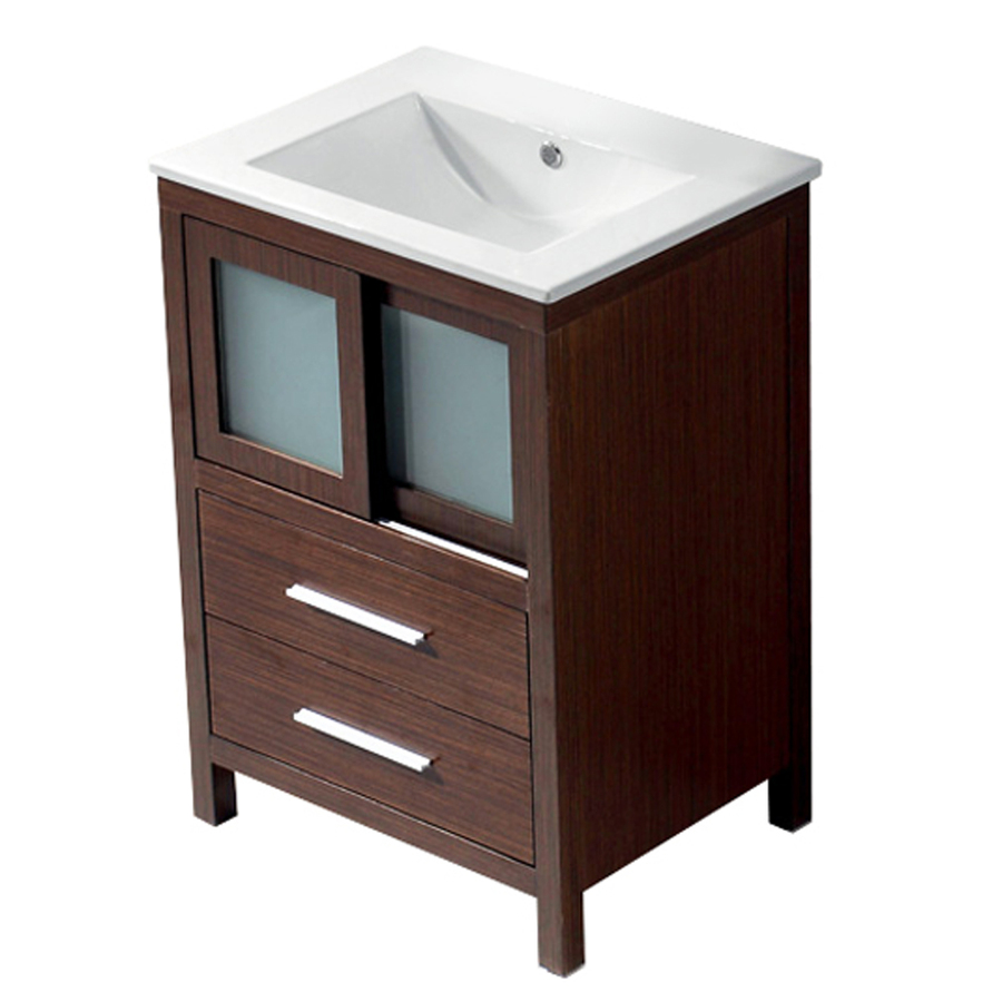 Shop vigo wenge integral single sink bathroom vanity with for Bath vanities with tops