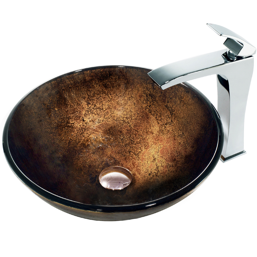 Bronze Vessel Sink : Shop VIGO 6-in D Bronze Glass Round Vessel Sink Faucet Included at ...