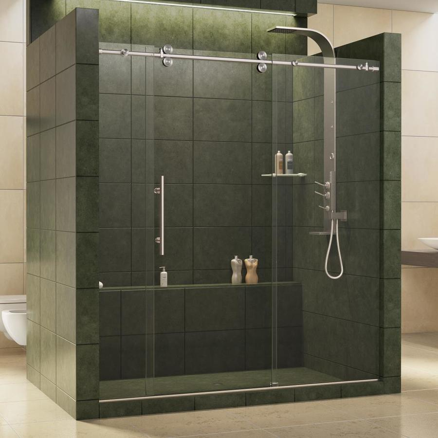 Shop dreamline enigma 68 in to 72 in w x 79 in h frameless Sliding glass shower doors