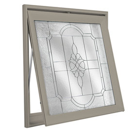 Hy-Lite 29-in x 29-in Driftwood Triple Pane Square Decorative Glass Awning Window