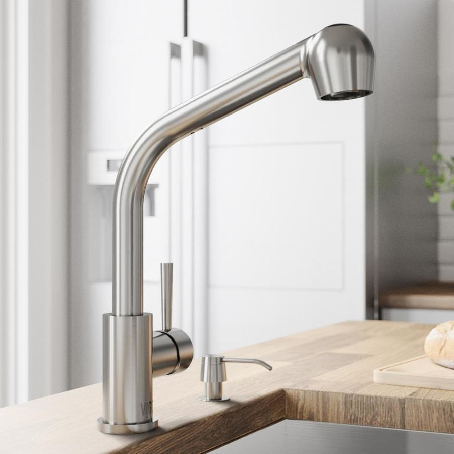 Shop Vigo Stainless Steel Pull Out Kitchen Faucet At
