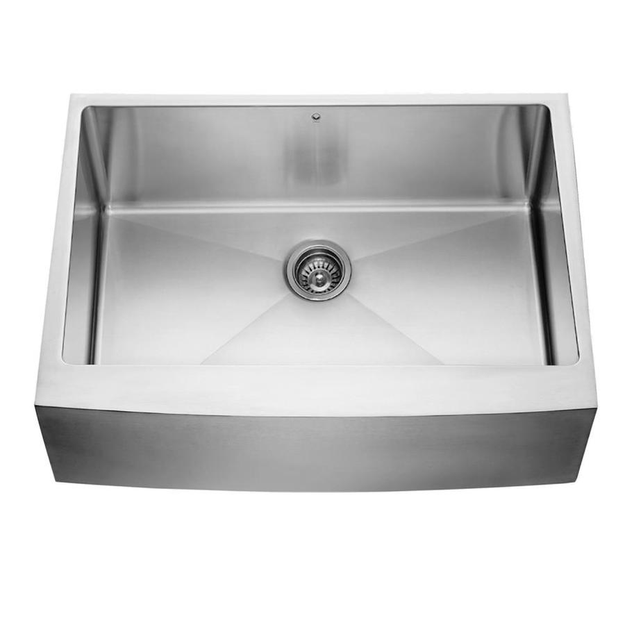 Shop vigo stainless steel single basin apron front Stainless steel farmhouse sink