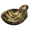 VIGO Vessel Sink & Faucet Set Chocolate Carmel Swirl Glass Vessel Round Bathroom Sink with Faucet (Drain Included)