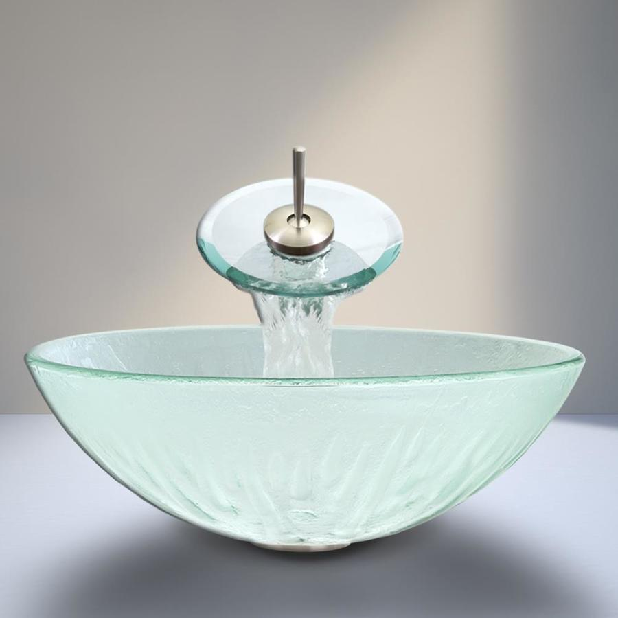 Shop vigo white glass vessel round bathroom sink with faucet drain included at for Above counter bathroom sinks glass