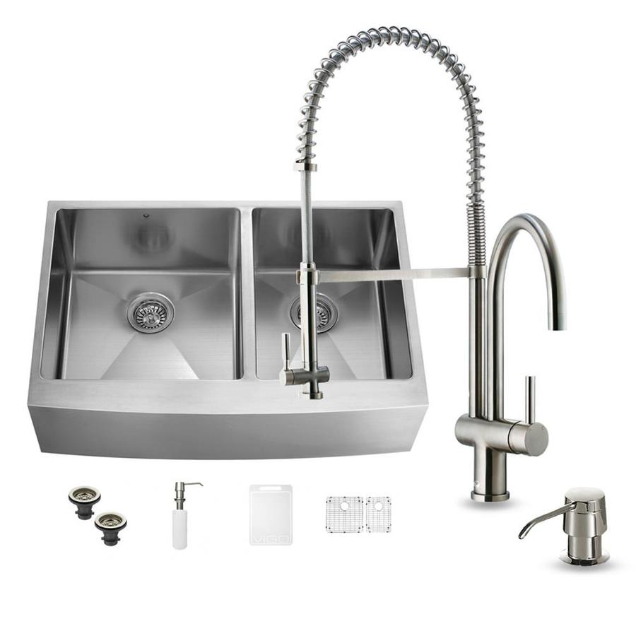 ... Steel Double-Basin Apron Front/Farmhouse Kitchen Sink at Lowes.com