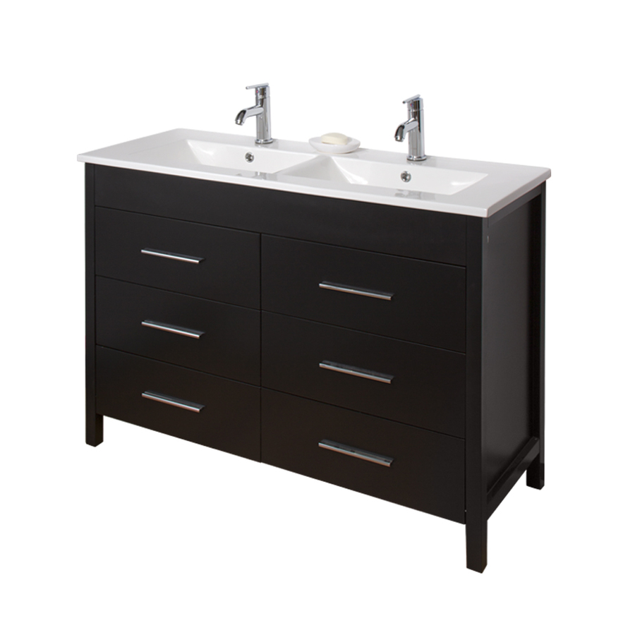 Shop vigo maxine espresso integral double sink bathroom vanity with vitreous china top common Lowes bathroom vanity and sink